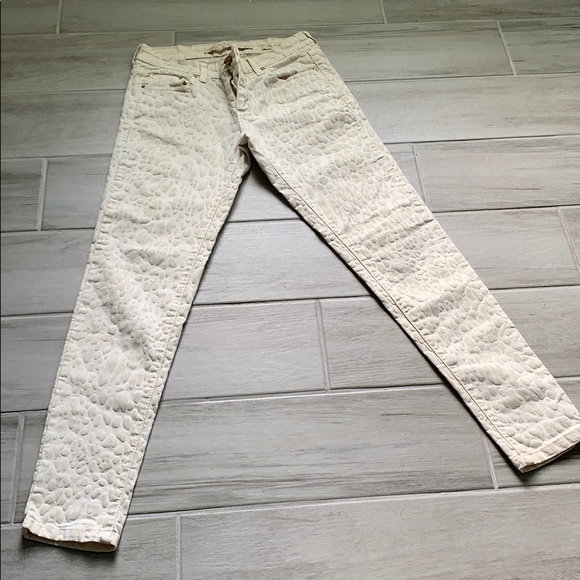 Zara Denim - Cream Skinny Jeans with suede leopard print detail